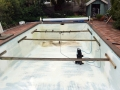 Fibreglass pool braced