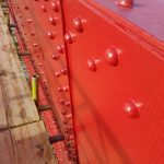 Bright red on bridge